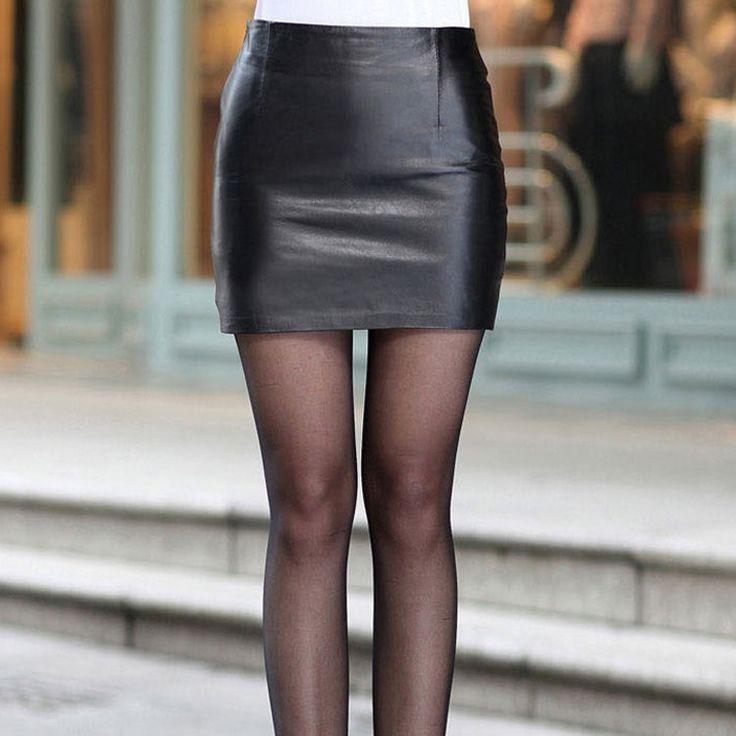 Cute Black Faux Leather Short Skirt #BzFashions #StraightPencil