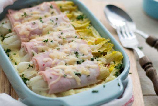Witlof ovenschotel aardappelpuree met ham en kaas