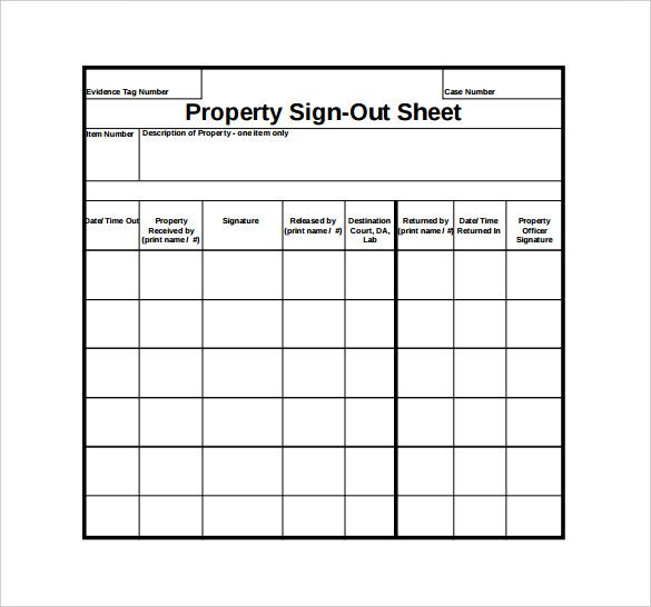19 Sample Sign Out Sheet Templates Sign Out Sheet Sign Out