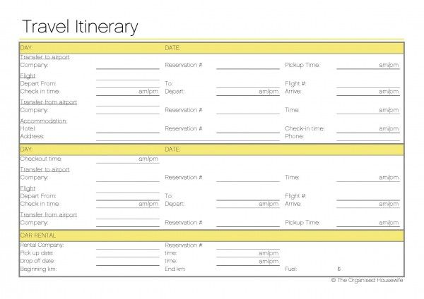 Free Printable Travel Itinerary Printables Binders Planners Oh