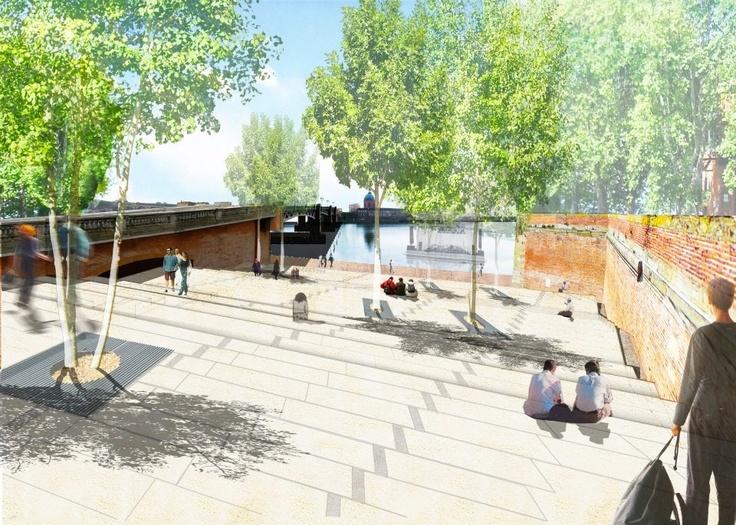 QUAIS DE LA DAURADE - Le projet urbain Toulouse Centre propose d'ouvrir à nouveau la ville sur son fleuve : visuellement par la création d'une esplanade en escalier depuis la place Saint-Pierre ; concrètement par la disposition de passerelles et d'accès, jusqu'à la mise à disposition d'une liaison fluviale reliant les deux rives en période estivale.