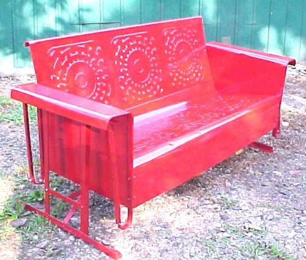Vintage Swings | VINTAGE RED 1950s HEAVY METAL PORCH PATIO GLIDER SWING  *Great Pattern