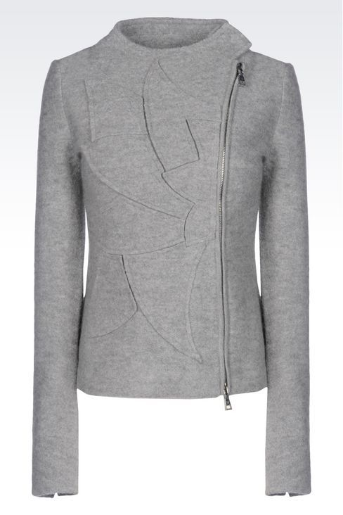 Emporio Armani Women Caban - JACKET IN BOILED WOOL WITH INTARSIA MOTIF Emporio Armani Official Online Store