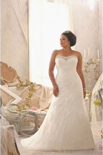 Mori Lee robes de mariée tulle sirène traîne chapelle application sans bretelles