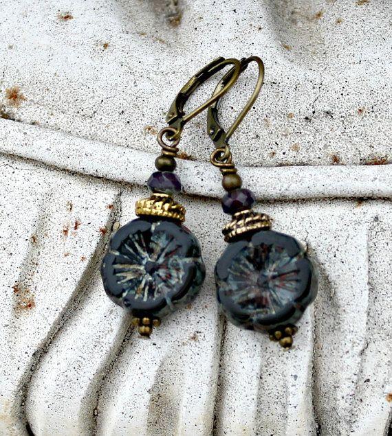 Reserved Listing - Bohemian Czech Flower Earrings, Black, Dark Violet, Antique Brass, Boho, Gift for Her, Christmas Gift for Women