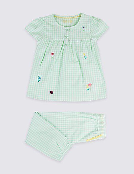 Gingham Pure Cotton Pyjamas (1-7 Years)