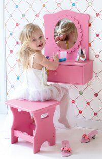 Next project for grampa? I THINK SO! Girls Dressing Table & Stool Set, so cute!