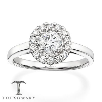 Tolkowsky Engagement Ring 3/4 ct tw Diamonds 14K White Gold--Sooooooo pretty!