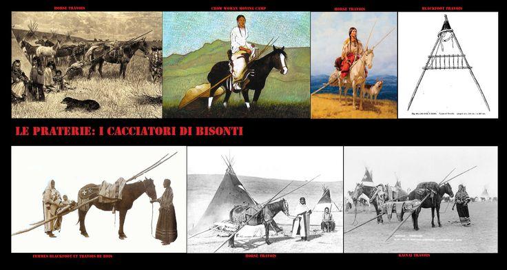 Dopo l'introduzione del cavallo (16 ° secolo da parte degli spagnoli) questo ha affiancato il cane come animale da tiro.  I cavalli con la loro maggiore potenza di trazione hanno agevolato notevolmente il trasporto dei carichi.