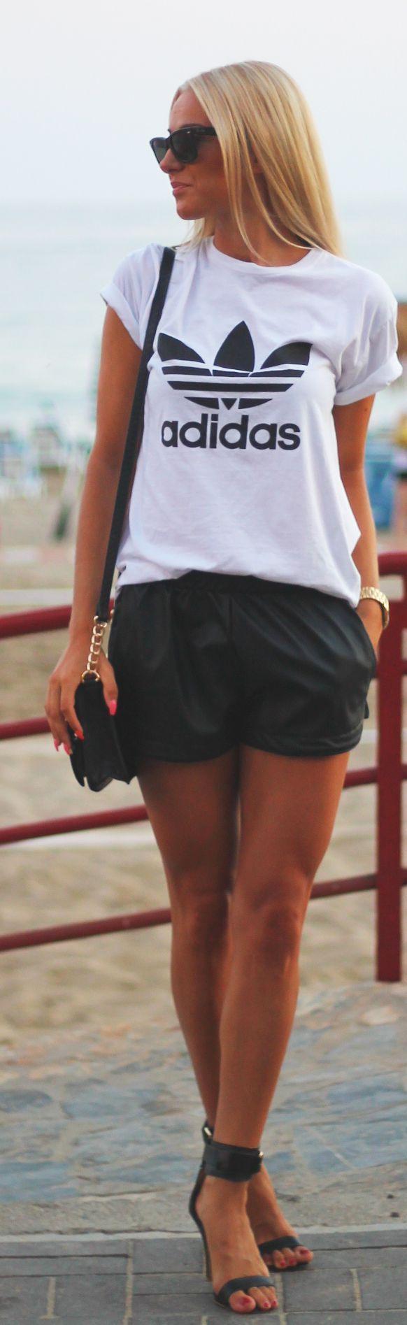 Adidas black & white basic sporty printed T-shirt, shorts, bag, shandals.