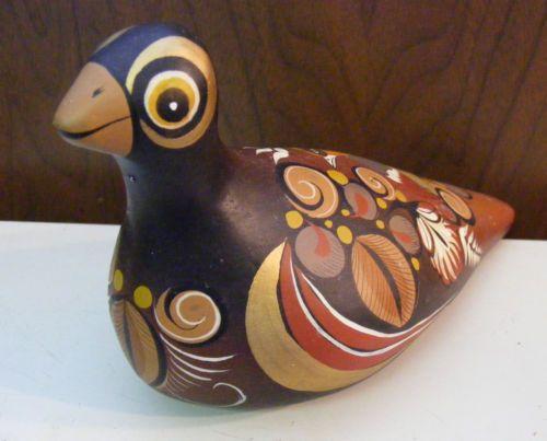 Vintage-Mexican-Pottery-Dove-Bird-Mexico-Tonala-Sculpture-Figurine-Big-Eyes-Brn