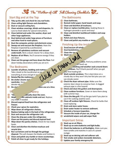 """the mother of all"" fall cleaning checklist. I better get started on this list now before baby #3 gets here!"