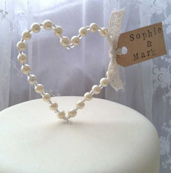 Personalised Pearl Heart Wedding Cake Topper Decoration