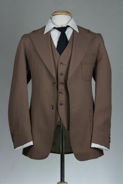 Vintage Mod Levis Brown Indie 3 Piece Vested Suit 40... groom