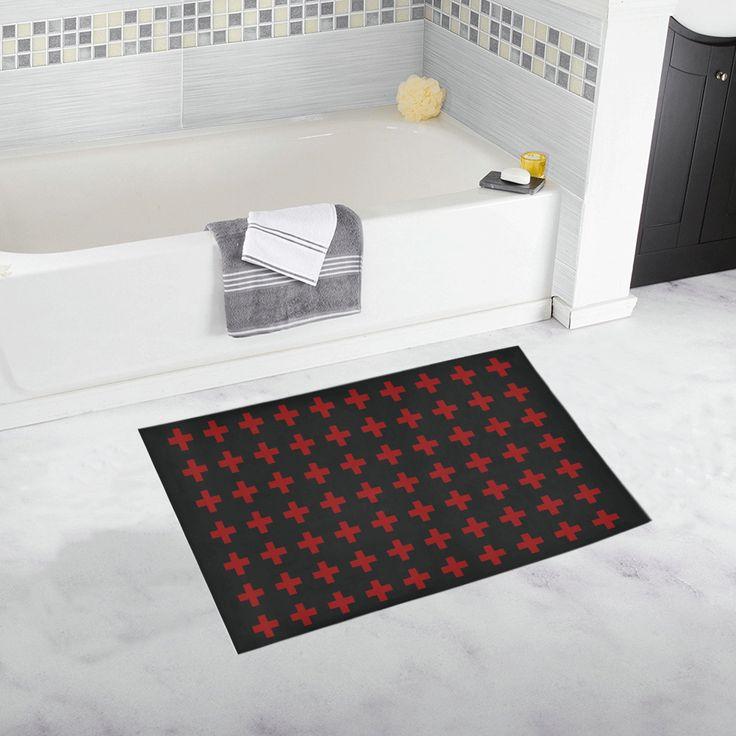 Punk Rock Style Red Crosses Pattern Design Bath Rug 20''x 32'' #bathmat #bathrug #mat #rug #crosses #rockstyle #rock #artsadd #red #family #onlineshopping #style #39 #art #gifts #giftsforher #giftsforhim #homegifts #buybathmats #bathmats #badass #coolbathmat #bathroom #bath #bathroomgifts #homegifts #home #modernhome