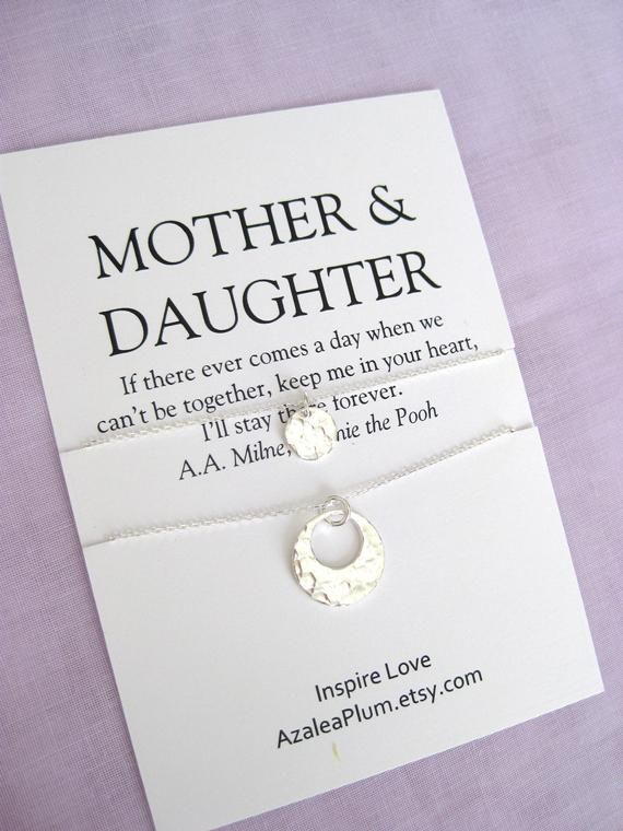 Mom Gift Solid Sterling Silver Necklace Mother Daughter