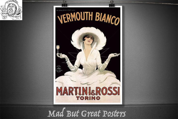 Vermouth Bianco - Martini & Rossi - Torino - Marcello Dudovich - 1900, vintage, poster, gift, food and drink, wall art, Italian, travel, ink by MadButGreatPosters on Etsy