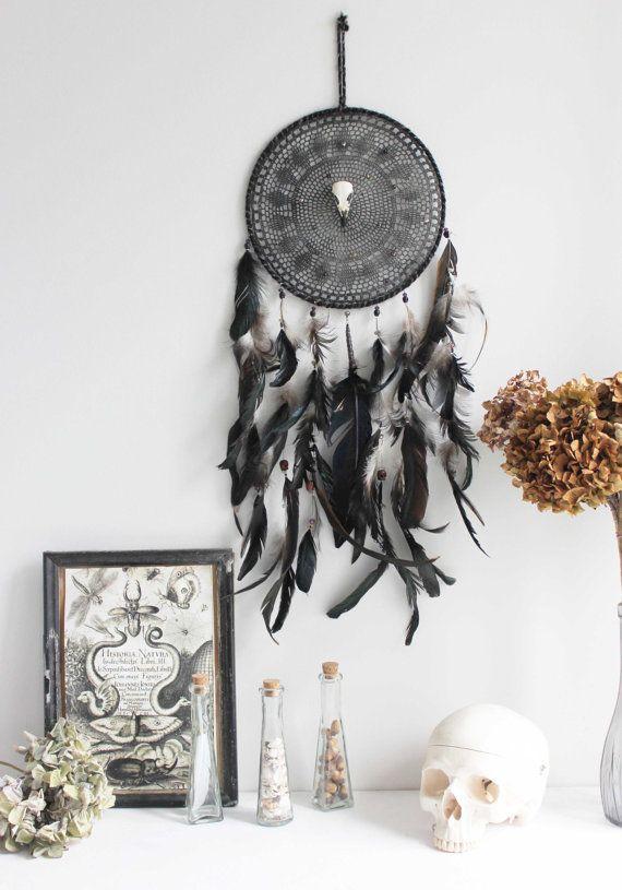 SALE Salem . black dreamcatcher with real bird by BoudoirDuChaman