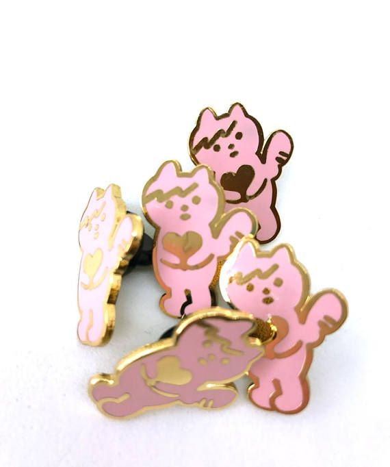 gold and pink cat angel enamel pin