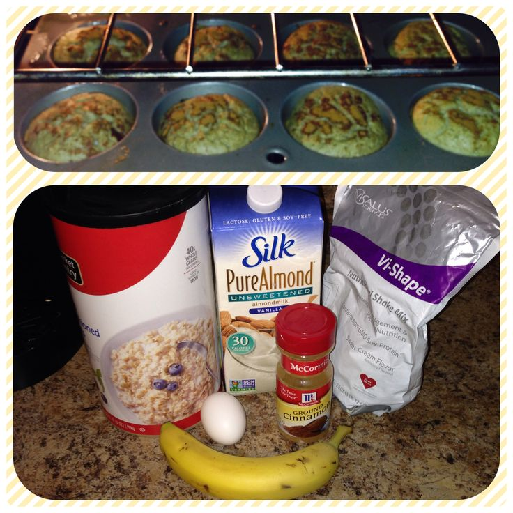 Body by vi banana cinnamon pancake muffins! One serving of body by vi, 1/3 cup of pure almond milk, 1/3 cup of oats, 1 egg, 1 banana, and cinnamon. Less than 350 calories per batch!!!  #bodybyvi #breakfast