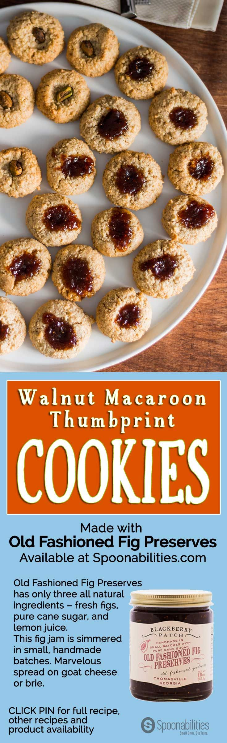 Walnut Macaroon Thumbprint Cookies with Old-Fashioned Fig Preserves by Blackberry Patch in the center. Flour-less dessert recipe typically served during Passover. You can have fun putting many different jams or nuts in the center. Available at Spoonabilities.com via @Spoonabilities