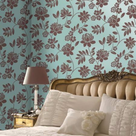 W2WUK / Wallpaper / Wallcoverings / Flock / Textured Effects / Bedroom / Lounge / Living Room / Dining Room / Decorating / Holden Decor / British design / Alanis / Kristen / DuckEgg / Turquoise / Brown / Luxury / Premium / Floral / Flowers / Ferns