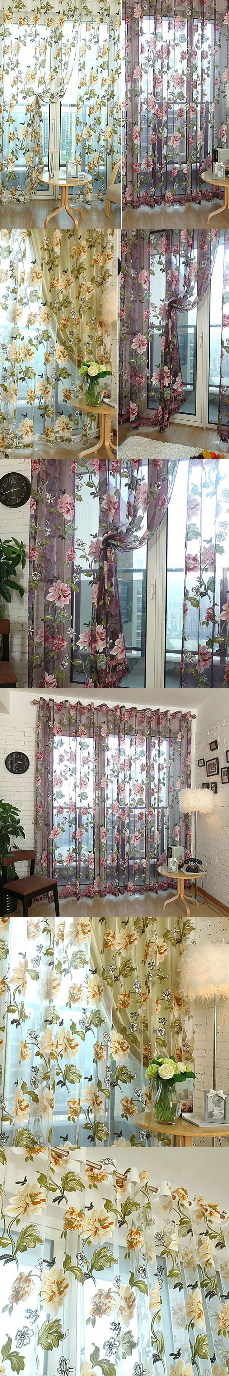 Pastoral Window Curtains Printed Flower Tulle Curtain For Bedroom Curtains Home Decor $11