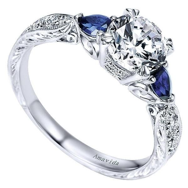 Platinum Victorian Engagement Ring with Sapphire Accents by Gabriel & Co. #ER8773PT3SA. Center Stone is not included