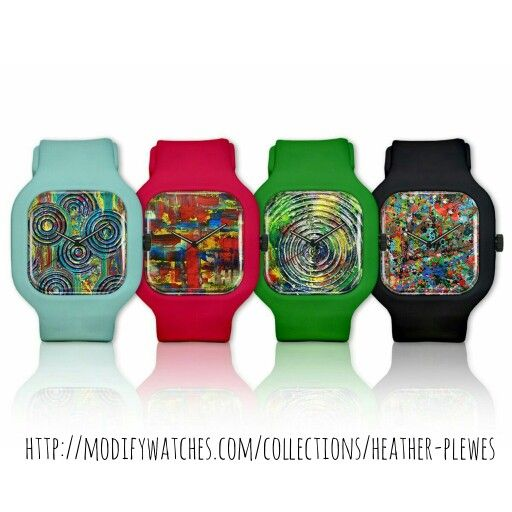 Funky, fun watches with original abstract art by Heather Plewes Art!