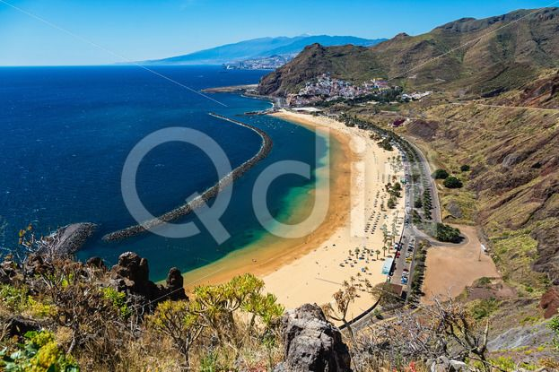 Qdiz Stock Photos | Beach Las Teresitas in Santa Cruz. Tenerife, Spain,  #aerial #Atlantic #beach #blue #breakwater #Canary #coast #coastline #island #landscape #LasTeresitas #mountain #nature #ocean #playa #SantaCruz #sea #shore #sky #Spain #spring #summer #Tenerife #view #water #yellow