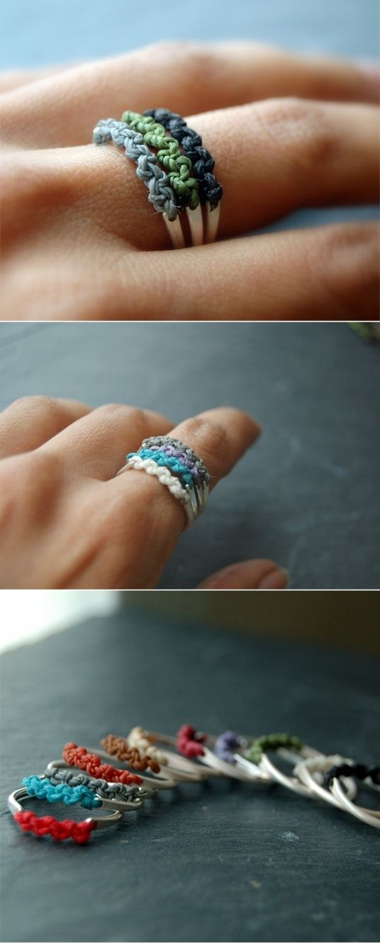 DIY ring~~~cute~~~ - vintage style - It's half friendship bracelet and half ring! I could make these for my friends instead of a friendship bracelet (since I never wear them/destroy them)