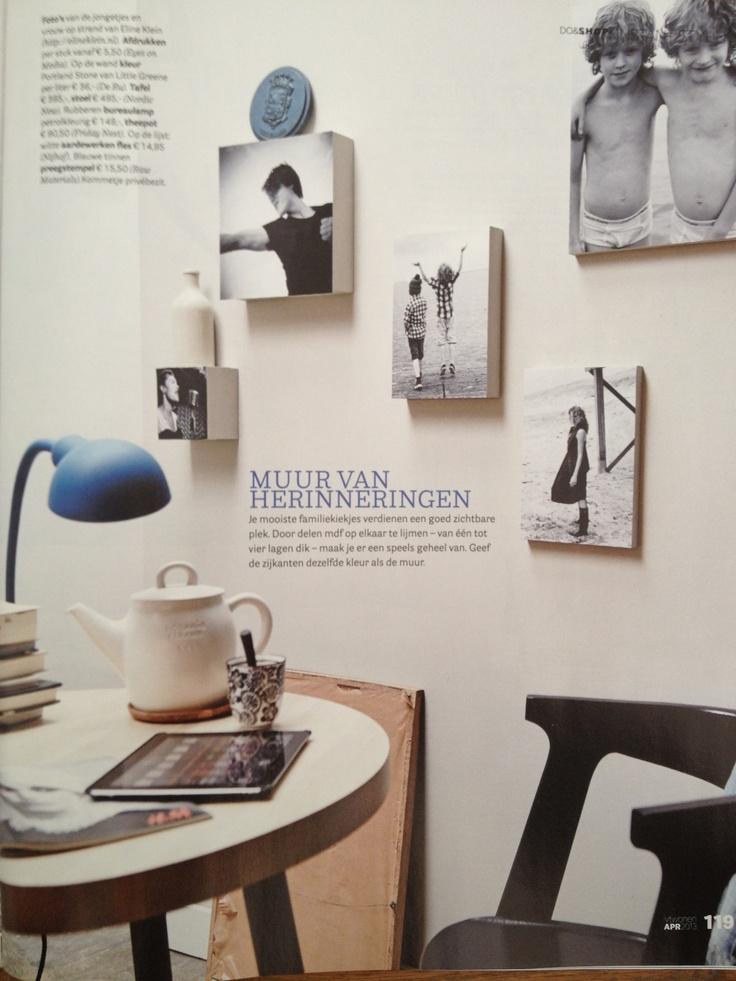 Leuk idee voor al uw foto's: hang verschillende formaten foto op hout aan de muur! #fotoophout