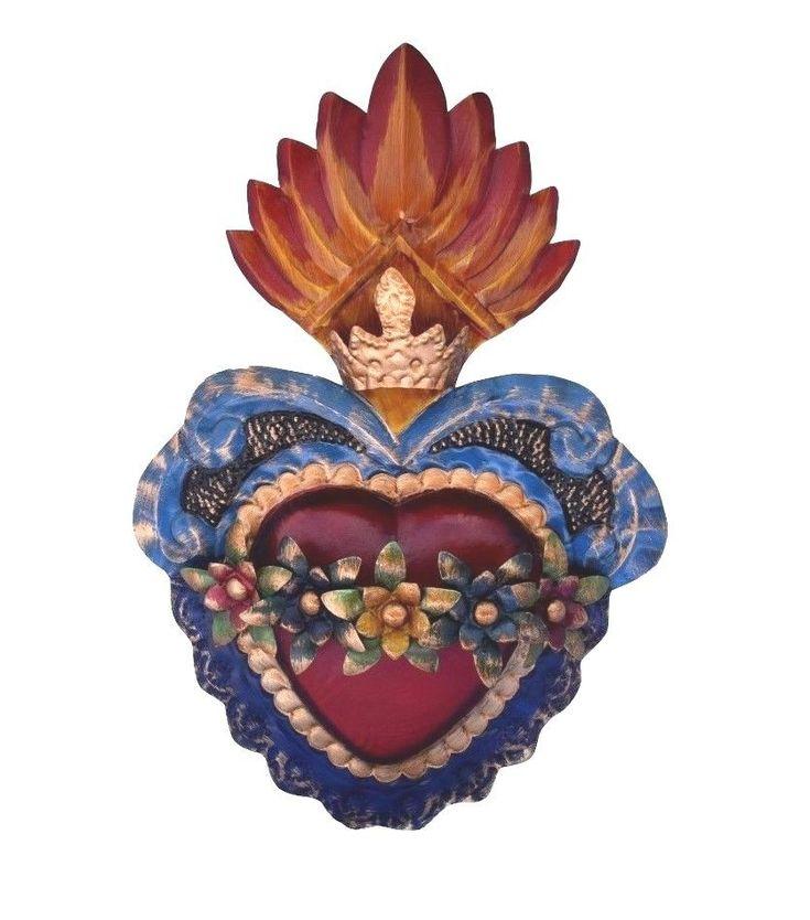 Milagro Sacred Flaming Heart Painted Flowers  Ex voto Nicho Retablo Style # 11