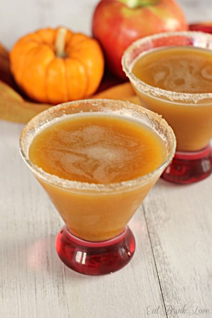 Apple Pumpkintini:   •2 1/2 tbs. pumpkin puree   •3 ounces apple cider (I used the Spiced Cider from Trader Joes)   •2 ounces vanilla vodka   •1 ounce ginger ale   •cinnamon and sugar (for the rim)