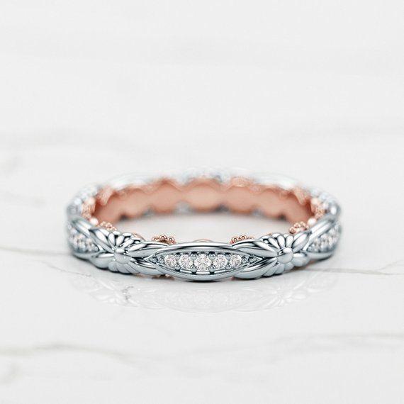 Aliança trançada / Aliança de dois tons / Aliança de diamante para mulheres / Aliança Art Déco / Aliança em ouro rosa e branco   – Schmuck