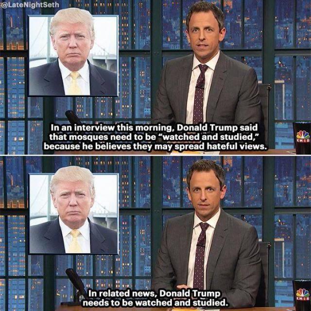 A funny Seth Meyers joke poking fun at Donald Trump.