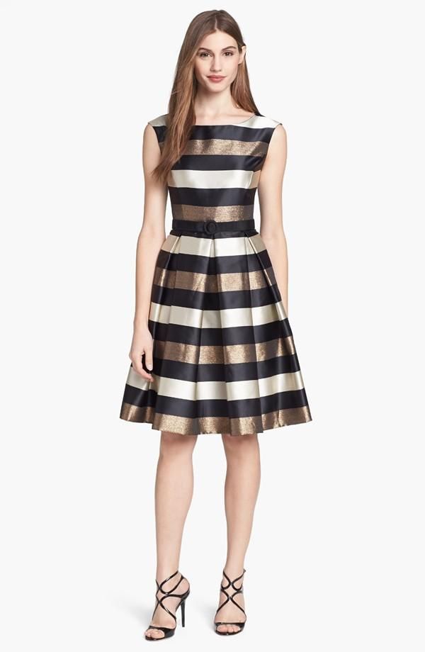 Great holiday dress!  Love the metallic stripe mixed in.