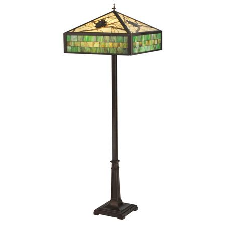 Craftsman floor lamp with pine cone themed stained glass shade with green border.