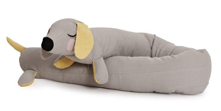 Lazy Long Dog, sengerand, bamse, pude, økologisk pude, økologisk sengerand