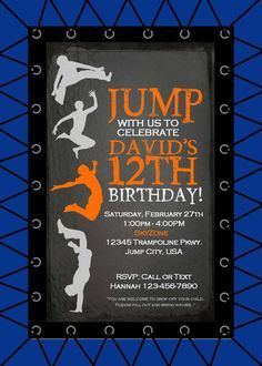 Jump Trampoline Birthday Party Invitation by ParchmentSkies