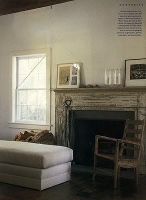 I like the rustic look of this fireplace surround/mantel