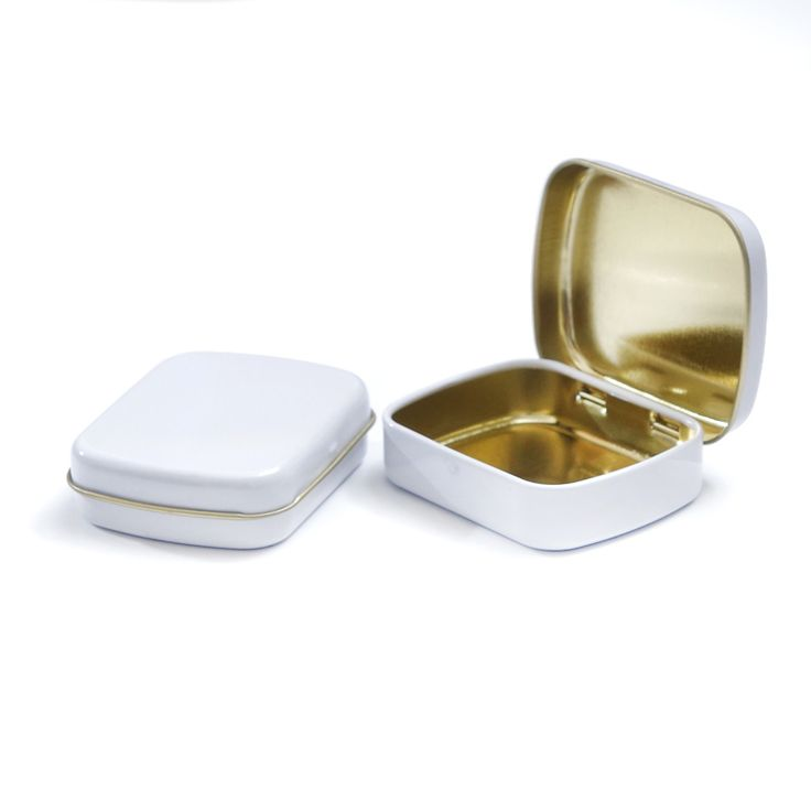 White Mini Tins storage box DIY blank Metal organizer Case