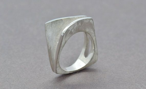 Textured Silver Ring Silver Asymmetrical Ring by SuttonSmithworks