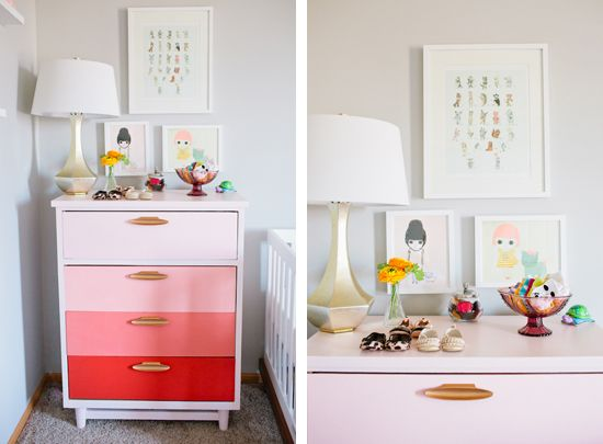 .: Bedrooms Colors Pink, Ombre Dressers, Ombre Drawers, Colors Palettes, Nurserieskid Rooms, Little Girls Nurseries, Nurseries Ideas, Girls Rooms, Retro Drawers