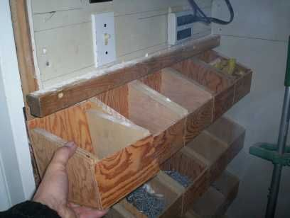 Nut & Bolt Storage Bins | nuts and bolts-storage - Woodworking Talk - Woodworkers Forum To keep dust out, Plexiglas with hinge (think candy bins)