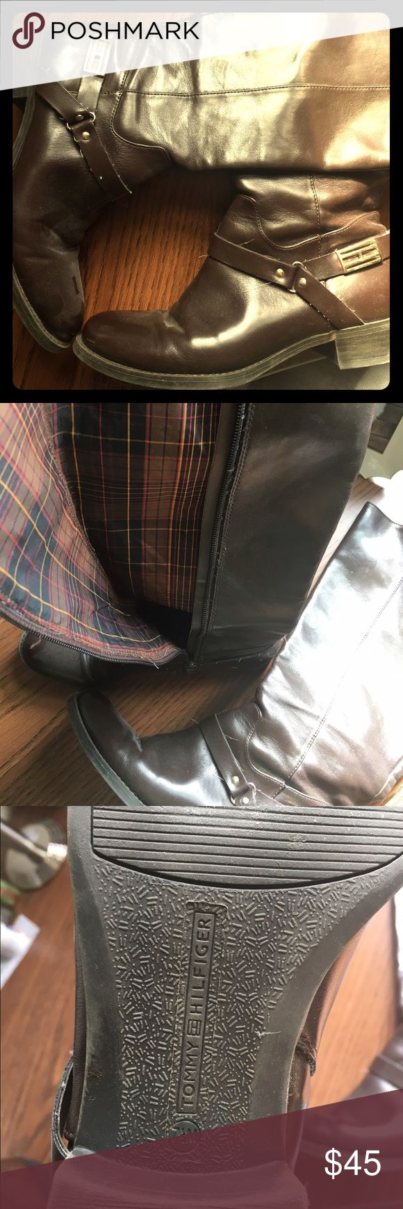 Tommy Hilfiger Boots Slightly worn leather Tommy boots in great shape, size 7 1/2! Super cute plaid interior and gold detailing :) Tommy Hilfiger Shoes Ankle Boots & Booties