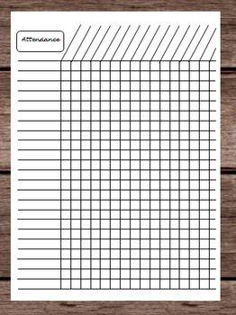Attendance Tardy Late Time Tracker Chart Monthly Calendar Teacher Binder School