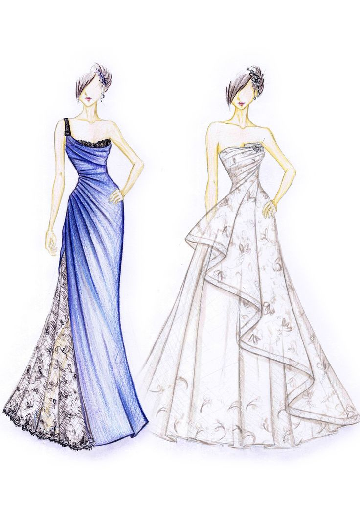 bridal and evening gown sketches | Fashion Inspiration in ...