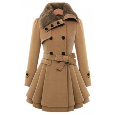 Just US$40.5 + free shipping, buy Camel Double Breasted Coat and Belt online shopping at GearBest.com.