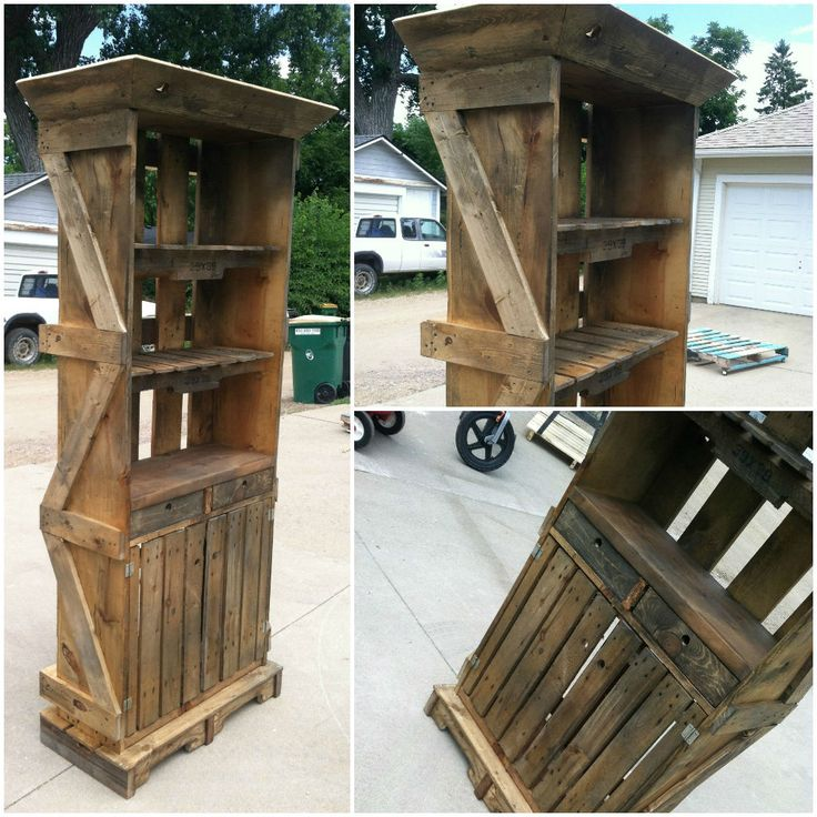 This Pallet Hutch was created by two pallets and a shipping crate. I has two drawers, doors with storage in the bottom along with a counter and two upper shelves made from pallets. The crown mold was even made from…